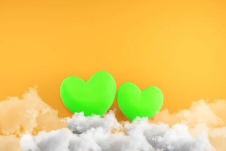 Creative green hearts on clouds. Orange wall background. Love and creativity concept. 3D Rendering  Фото со стока