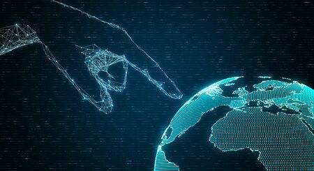 Abstract digital hand pointing at globe on dark coding background. AI and technology concept. 3D Rendering