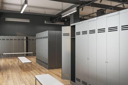 Side view of luxury locker room interior. School and sports concept. 3D Rendering