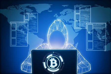 Abstract digital hacker using laptop on glowing big data background with interactive map and bitcoin sign. Hacking and cryptocurrency concept. 3D Rendering