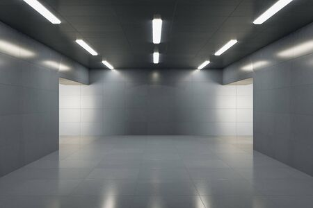 Modern grey concrete interior with lamps on ceiling, reflections and copy space. 3D Rendering