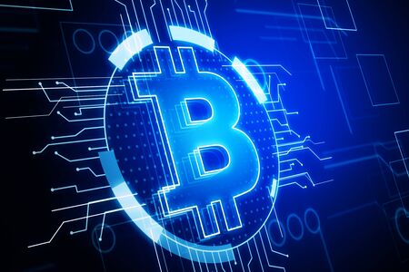 Cryptography and cryptocurrency concept. Glowing blue bitcoin interface in blurry dark background. 3D Rendering