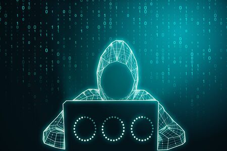 Abstract digital hacker using laptop on glowing big data background. Hacking and coding concept. 3D Rendering