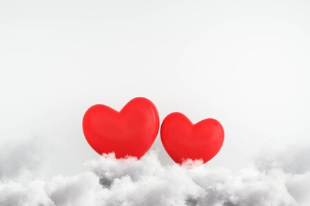 Creative red hearts on clouds. Subtle concrete wall background. Love and creativity concept. 3D Rendering  Фото со стока