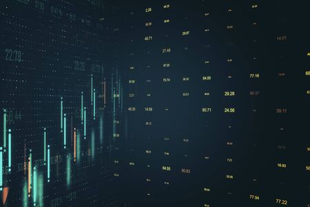 Creative glowing dark forex chart background. Invest and stats concept. 3D Rendering