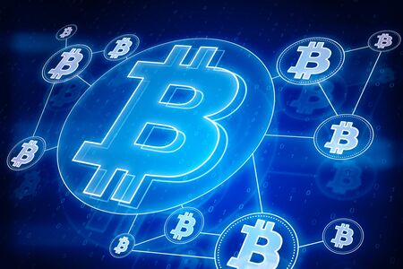 Cryptography and cryptocurrency concept. Glowing blue bitcoin interface in blurry dark wallpaper. 3D Rendering  Zdjęcie Seryjne