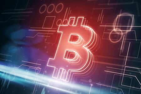 Cryptography and payment concept. Glowing red bitcoin interface in blurry dark background. 3D Rendering