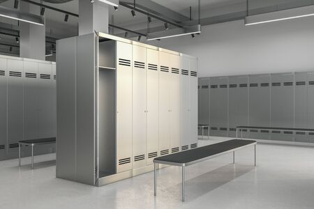 Side view of new locker room interior. School and sports concept. 3D Rendering