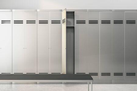 Modern locker room interior. School and sports concept. 3D Rendering