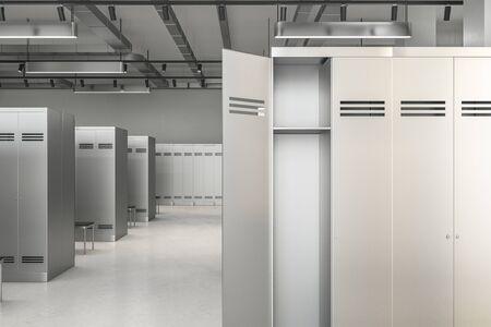 New locker room interior. School and sports concept. 3D Rendering  Reklamní fotografie