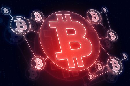 Cryptography and payment concept. Glowing red bitcoin interface in blurry dark wallpaper. 3D Rendering