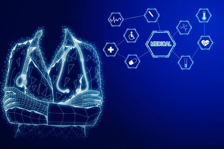 Abstract glowing medical hologram with polygonal doctor. Medicine and ai concept. 3D Rendering