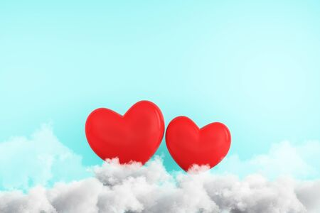 Creative red hearts on clouds. Subtle blue wall background. Love and creativity concept. 3D Rendering