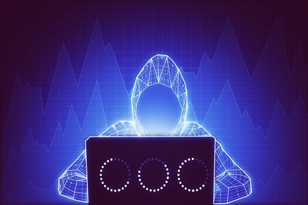 Abstract digital hacker using laptop on glowing big data background. Hacking and steal concept. 3D Rendering