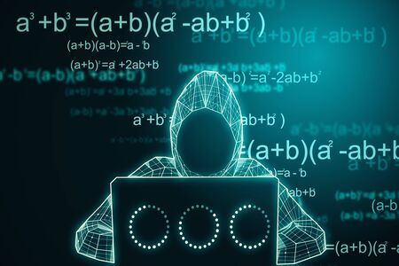 Abstract digital hacker using laptop on glowing big data background with mathematical formulas. Hacking and complex concept. 3D Rendering