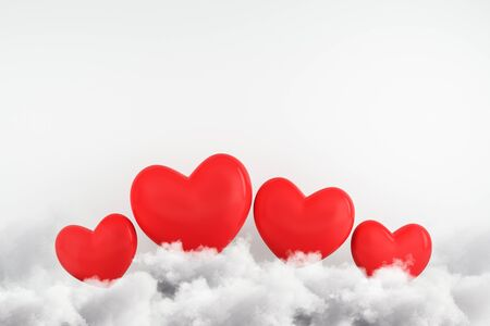 Creative red hearts on clouds. Subtle white concrete wall background. Love and creativity concept. 3D Rendering