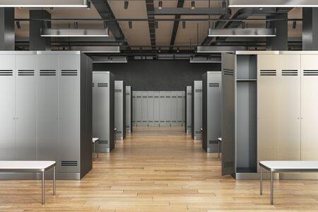 Simple locker room interior. School and sports concept. 3D Rendering  Reklamní fotografie