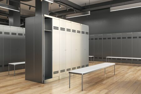 Side view of clean locker room interior. School and sports concept. 3D Rendering