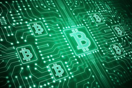 Cryptography and e-commerce concept. Glowing green bitcoin circuit interface in blurry dark backdrop. 3D Rendering  Zdjęcie Seryjne