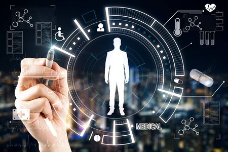 Medicine and technology concept. Hand drawing creative glowing medical interface on dark background. Stock Photo
