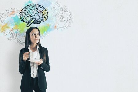 Businesswoman with cup of coffee. Abstract brain and gears. Perspective and intelligence concept. Reklamní fotografie