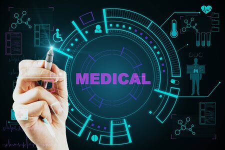 Medicine and technology concept. Hand drawing creative glowing blue medical interface on dark background. Stock Photo