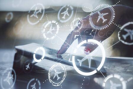 hands on desktop using tablet with travel concept Banco de Imagens