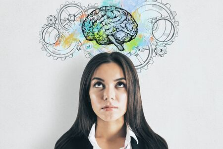 Young businesswoman thinking. Abstract brain and gears. Perspective and intelligence concept. Stok Fotoğraf