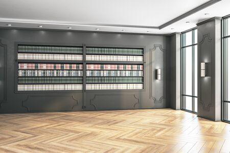 Moderne Loftbibliothek mit Bücherregal. Geschäfts- und Bildungskonzept, 3D-Rendering Standard-Bild