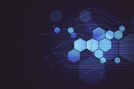 Abstracte digitale zeshoeken achtergrond. Technologie en wetenschapsconcept. 3D-rendering