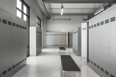 Clean locker room interior with window and daylight. School and sports concept. 3D Rendering