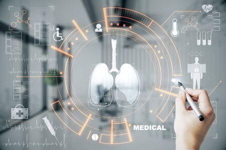 医学とイノベーションの概念。ぼやけた病院のインテリアの背景に創造的な輝く医療インターフェイスhudホログラムを使用して医師の手。多重露出 写真素材