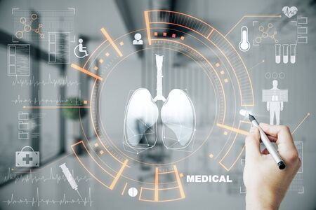 Medicine and innovation concept. Doctor hand using creative glowing medical interface hud hologram on blurry hospital interior background. Multiexposure