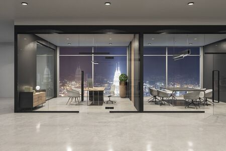 Contemporary office interior with night Kuala Lumpur city view, furniture and equipment. 3D Rendering