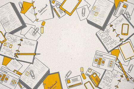 Concepto de idea y marketing. Bosquejo de negocios creativos sobre fondo de pared blanca, representación 3D Foto de archivo