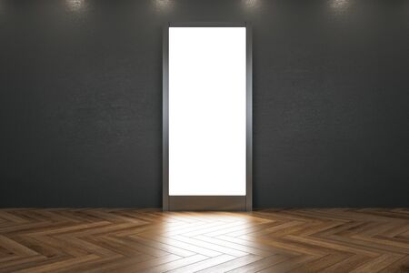Interior del museo moderno con pancarta iluminada y reflejos sobre piso de madera. Mock up, representación 3D