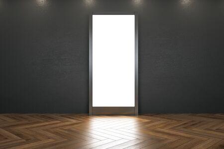Modernes Museumsinterieur mit beleuchtetem Banner und Reflexionen auf Holzboden. Mock-up, 3D-Rendering