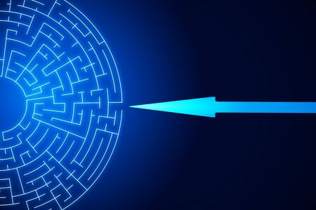 Creative digital labyrinth on blue background with arrow. Maze and solution concept. 3D Rendering