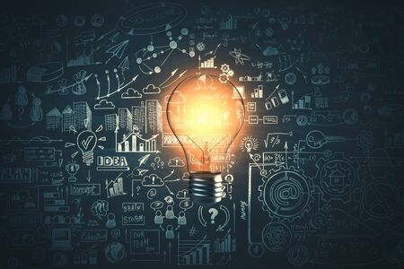Glowing light bulb and business sketch on dark wall background. Idea and education concept, 3D Rendering Stock Photo