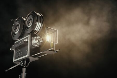 Professional camera on dark backdrop with smoke. Filming and cinematography concept. 3D Rendering Banco de Imagens