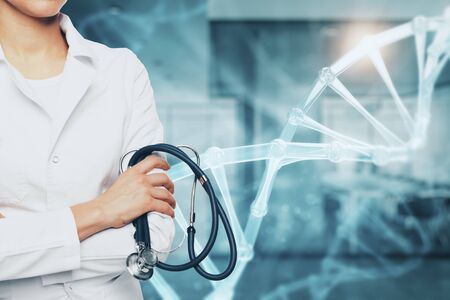 Medicine and science concept. Doctor with stethoscope and glowing medical DNA interface on blurry hospital interior background. Multiexposure