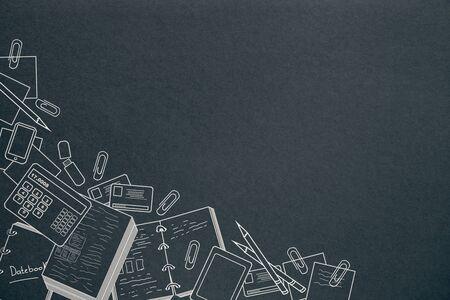 Succes en kennisconcept. Creatieve zakelijke schets op schoolbord/schoolbord muur achtergrond, 3D-Rendering