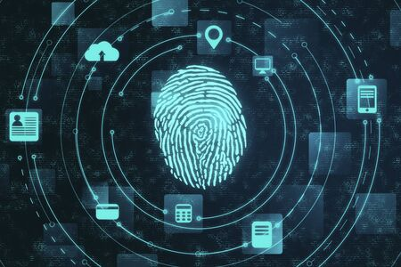 Âigital security and private data access,  fingerprint scanner. Business and security concept. 3D Rendering