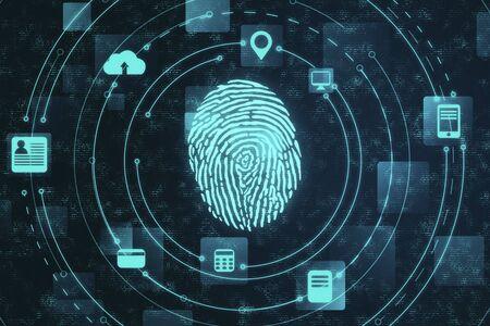 seguridad digital y acceso a datos privados, escáner de huellas dactilares. Concepto de negocio y seguridad. Representación 3D Foto de archivo