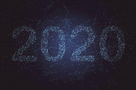 Il numero di testo 2020 si staglia sullo sfondo blu del codice binario. Tecnologia e concetto di nuovo anno. Rendering 3D