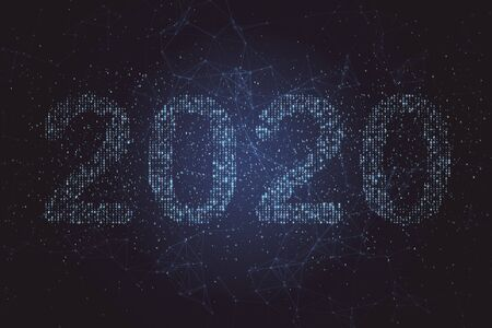 Le numéro de texte 2020 se détache sur le fond bleu du code binaire. Technologie et concept de nouvel an. Rendu 3D