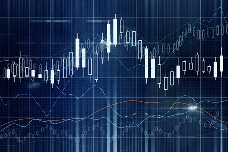 Digital screen with forex charts. Business trading concept. 3D Rendering Stock Photo