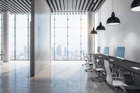 Clean room interior with city view and daylight. 3D Rendering