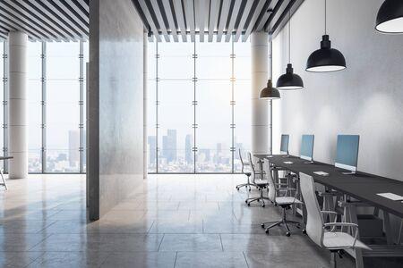 Wnętrze czystego pokoju z widokiem na miasto i światłem dziennym. Renderowanie 3D