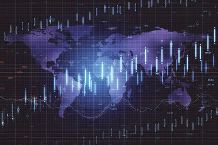 Digital screen with stock charts and world map. Business trading concept. 3D Rendering Stock Photo